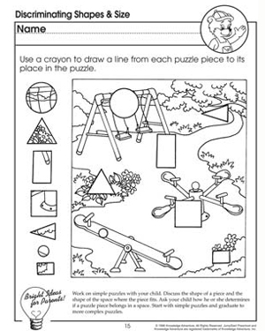 math worksheet : discriminating shapes and size  visual discrimination worksheet  : Shapes Worksheet For Kindergarten