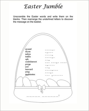 picture relating to Printable Jumble Puzzles identified as Easter Jumble Printable Worksheet for Easter - JumpStart