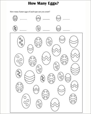 How Many Eggs? - Free Math Worksheet for Kids