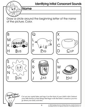 math worksheet : identifying initial consonant sounds which one  free letter  : Letter Sound Worksheets For Kindergarten