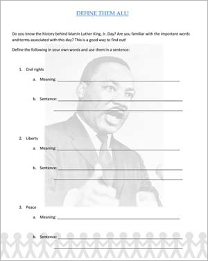 Printables Dr Martin Luther King Worksheets define them all fun martin luther king jr day worksheets for free english worksheet kids