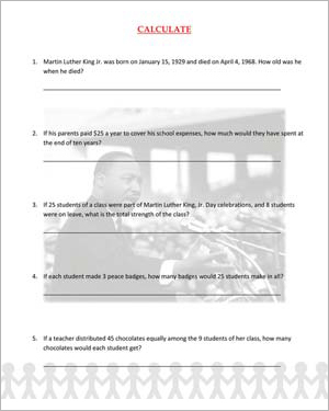 Calculate - Fun MLKJ Day Math Worksheet for Kids