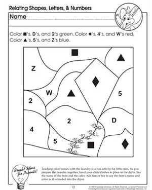 Relating Shapes, Numbers and Letters - Free Coloring Worksheet for Preschool