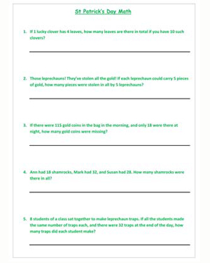 photo regarding St Patrick's Day Worksheets Free Printable identified as St. Patricks Working day Math No cost, Printable St. Patricks Working day
