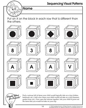 Sequencing Visual Patterns - Free Critical Thinking Worksheet for Kids