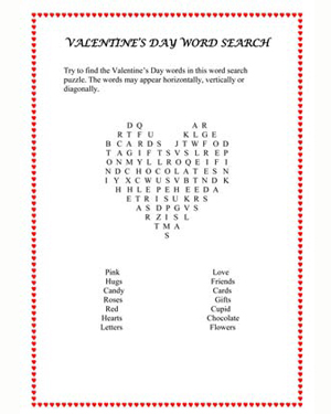 Valentine's Day Word Find Puzzle - Printable English Activity for Kids