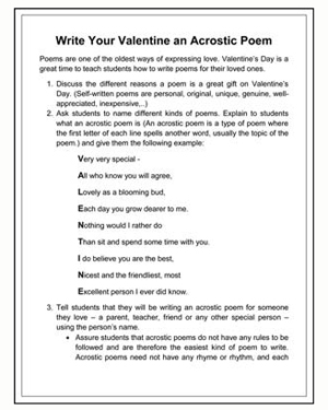 Printables Writing Poetry Worksheets write your valentine an acrostic poem printable valentines day poem