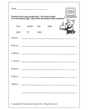 A Day in the Life of Fearless: What's It Like? - Fun Vocabulary Activity Worksheet for Second Grade