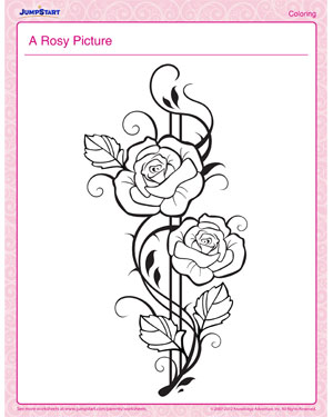 A Rosy Picture - Printable Children's Coloring Page for Valentine's Day