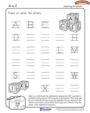 A to Z - Free English Worksheet for Kindergarten