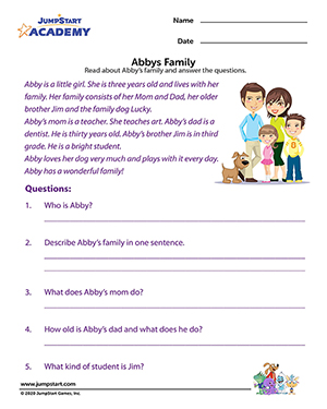 Abby's Family - Simple Comprehension Worksheet for Elementary