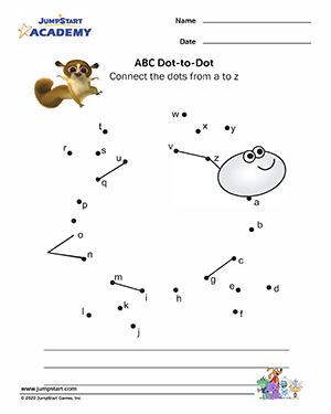 Free Alphabet Worksheets For Kids: ABC Dot to Dot – Printable Kindergarten Worksheets – JumpStart,