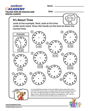 its about time  free math worksheet for kindergarten  jumpstart its about time  free math worksheet for kindergarten