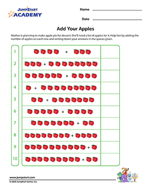 math worksheet : add your apples  free 1st grade math worksheets  jumpstart : Free Printable Math Worksheets For 1st Grade