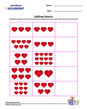 Adding Hearts | Free Valentine's Day Printables | JumpStart