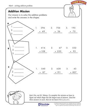 math worksheet : addition mission  5th grade math worksheets  jumpstart : 5th Grade Addition Worksheets