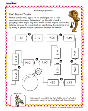Alexs Decimal Trouble  Printable Th Grade Math Worksheet  Jumpstart Alexs Decimal Trouble  Fun Printable Math Worksheet
