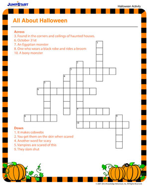 All About Halloween Free Fun Crossword Puzzles JumpStart