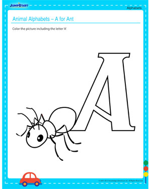 Animal Alphabets – A for Ant – Free Alphabet Worksheet for your Child