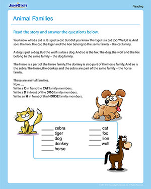 Animal Families – Printable 1st Grade Reading Worksheet – JumpStart