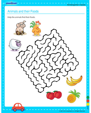 math worksheet : animals and their foods  free maze for kindergarten kids  jumpstart : Animals Worksheet For Kindergarten