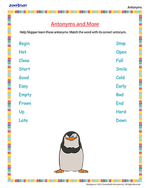 Antonyms and More - 'Madagascar' movie based worksheet for kids