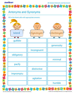 Antonyms and Synonyms – Free Vocabulary Worksheet for 6th Grade ...