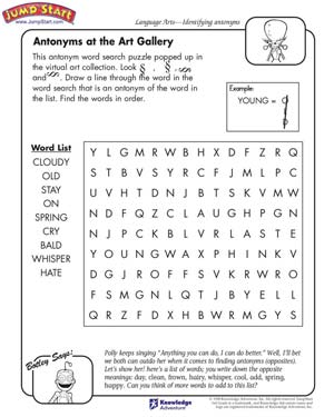 math worksheet : antonyms at the art gallery  3rd grade language arts worksheets  : Language Arts For Kindergarten Worksheets