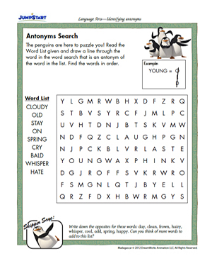 Antonyms Search Free Printable Word Puzzles For Kids