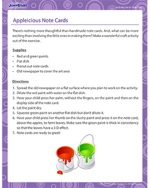 Appleicious Note Cards - Activity for 6-year olds