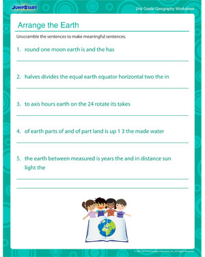 Arrange the Earth - Geography printable for kids