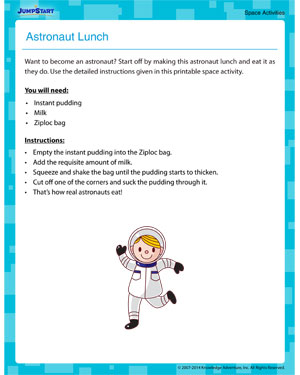 Astronaut Lunch - Fun Space Activity for Kids