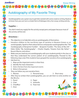 autobiography of my favorite thing essay writing activity for  autobiography of my favorite thing essay writing activity for kids