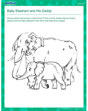 Baby Elephant and his Daddy – Father's Day Worksheet