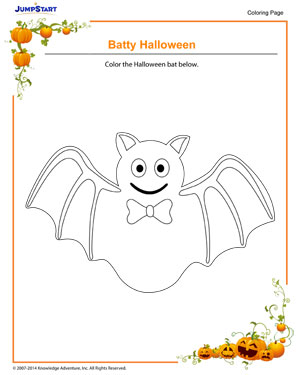Batty Halloween - Halloween coloring pages for kids