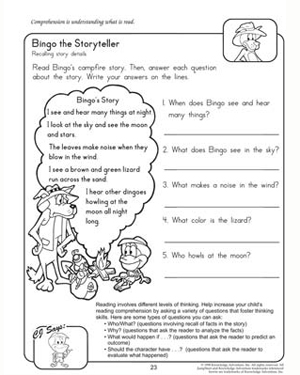 math worksheet : bingo the storyteller  reading  comprehension worksheets for 2nd  : Reading Worksheets For Kindergarten For Comprehension