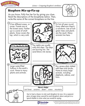 Biosphere Mix-Up Fix-Up – 3rd Grade Science Worksheets – JumpStart