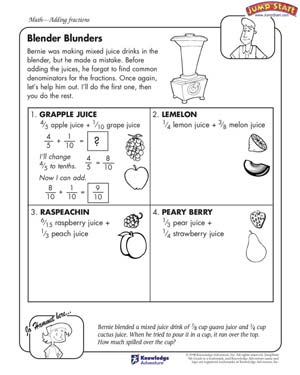 math worksheet : blender blunders  5th grade math worksheets  jumpstart : 5th Grade Math Measurement Worksheets