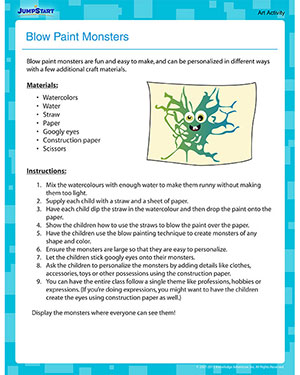 Blow Paint Monsters - Free Printable Art Activity