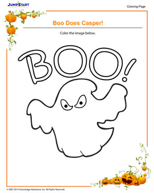 Boo Does Casper! - Halloween coloring pages for kids