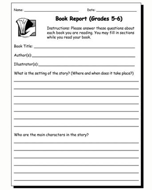 Book Report 5 & 6 - Free English Worksheet for Kids