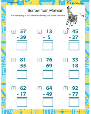 math worksheet : borrow from melman  printable 2nd grade math worksheet  jumpstart : Subtraction Worksheets For Second Grade