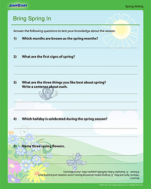 Bring Spring In – Printable Spring English Worksheet for 1st Grade