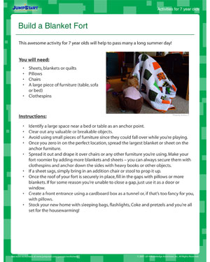Print 'Build a Blanket Fort' - Fun Summer Activity for your 7 year old!