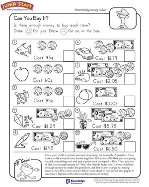 Can You Buy It – 2nd Grade Math Worksheets – JumpStart