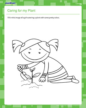 Caring for My Plant – Kindergarten Coloring Worksheet – JumpStart