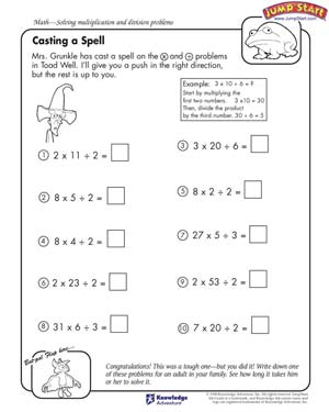 math worksheet : casting a spell  4th grade math worksheets  jumpstart : Math Printable Worksheets 4th Grade