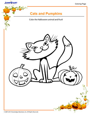 Cats and Pumpkins - Halloween coloring pages for kids