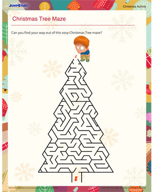 image regarding Christmas Maze Printable titled Xmas Tree Maze Printable Game for Small children JumpStart