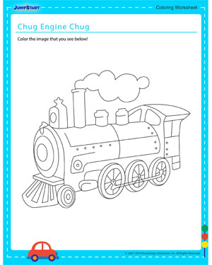 Chug, Engine, Chug - Coloring worksheet for kids